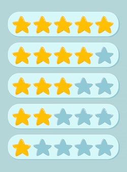 Conjunto de classificações de 1 a 5 estrelas. feedback, reputação e conceito de qualidade de produtos, bens e serviços. atendimento ao cliente, ícone plana para aplicativos e sites.