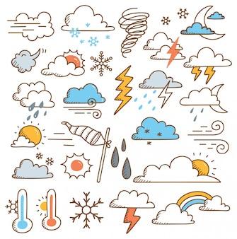 Conjunto de clima doodles ilustração