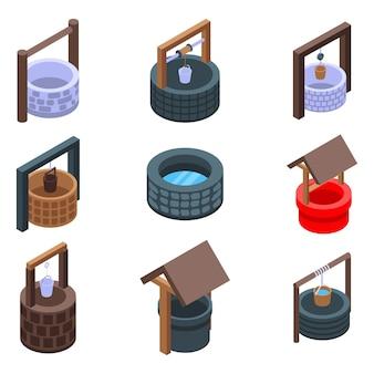 Conjunto de clip-art de poço de água, estilo isométrico