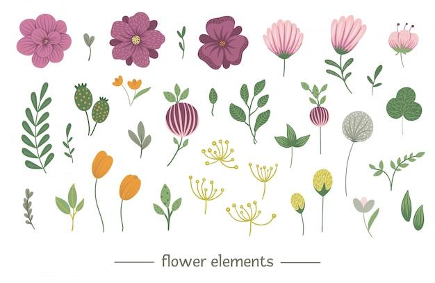 Conjunto de clip-art floral vetor. ilustração na moda plana com flores, folhas, galhos. prado, bosques, elementos da floresta isolados