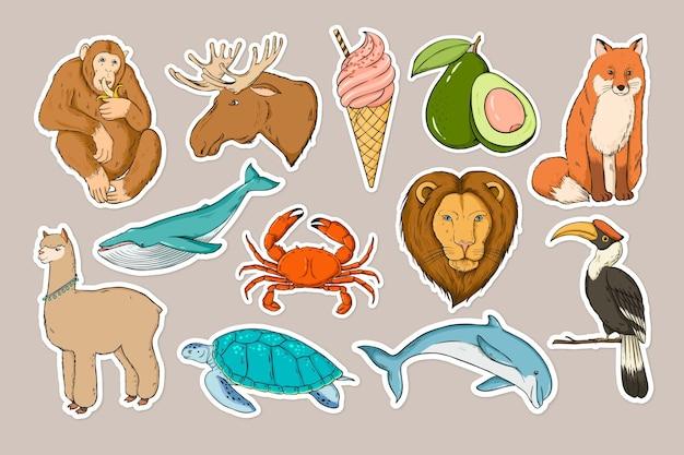 Conjunto de clipart colorido de adesivos de vida selvagem
