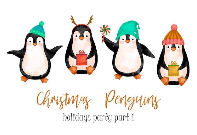 Conjunto de clipart de desenhos animados de pinguins de natal em aquarela