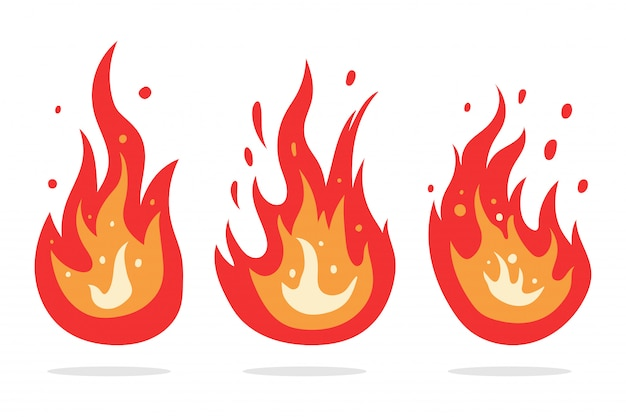 Conjunto de clipart de desenhos animados de vetor de chama de fogo isolado.