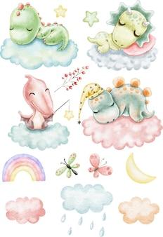 Conjunto de clipart de dinossauros com lindos dinossauros em aquarela dormindo nas nuvens entre as estrelas
