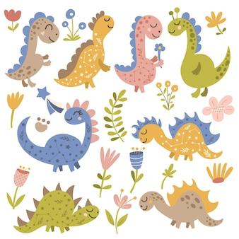 Conjunto de clipart de dinossauros e flores. ilustração vetorial.