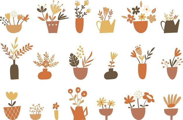 Conjunto de clipart de elementos e vasos florais. ilustração vetorial.