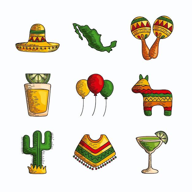 Conjunto de clipart de elementos tradicionais mexicanos