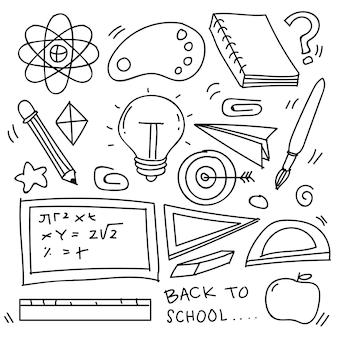 Conjunto de clipart de escola desenhado à mão. ícones escolares de doodle vetor e símbolos em estilo doodle, ilustração vetorial