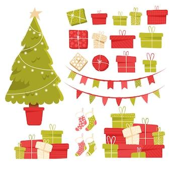 Conjunto de clipart de férias para decoração de natal e ano novo
