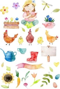 Conjunto de clipart de frango com galinhas agricultoras colhem folhas e flores