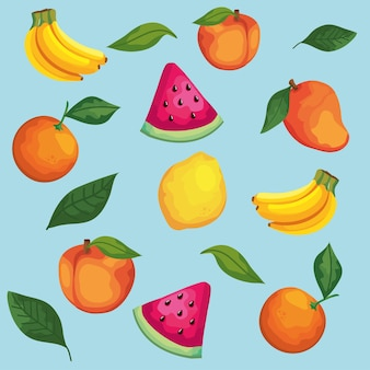 Conjunto de clipart de frutas e folhas