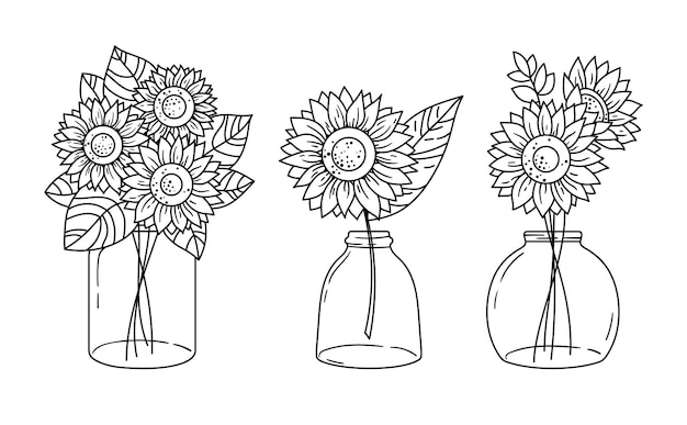 Conjunto de clipart de girassóis e frasco de vidro. bouquete de flores silvestres de linha preta e branca com girassóis