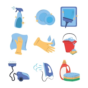 Conjunto de clipart de limpeza spray de pratos balde lavanderia ferro vácuo suprimentos