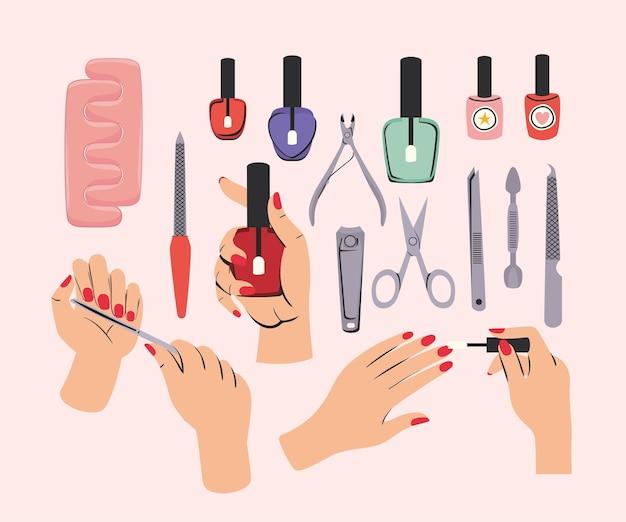 Conjunto de clipart de manicure
