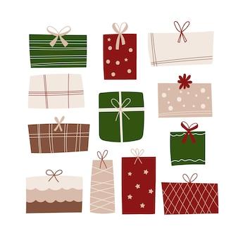Conjunto de clipart de presentes de natal. ilustração vetorial.