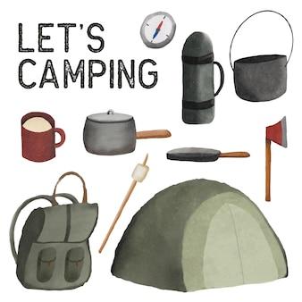 Conjunto de clipart de suprimentos de acampamento pintado em aquarela. desenho isolado no fundo branco.