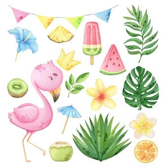 Conjunto de clipart de verão com flores em aquarela e folhas tropicais