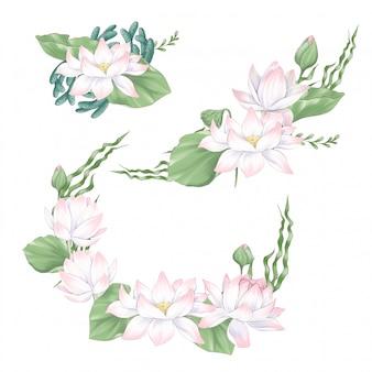 Conjunto de clipart digital flores e buquês de lótus e algas