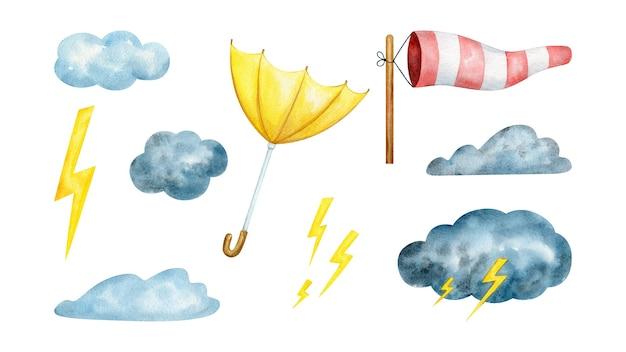 Conjunto de clipart em aquarela de clima tempestuoso com nuvens, vento e trovões
