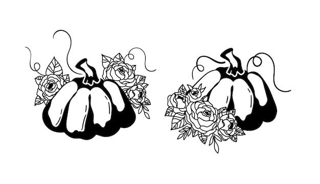 Conjunto de clipart isolado de abóbora floral de halloween silhueta mágica de abóbora de outono decoração de ação de graças