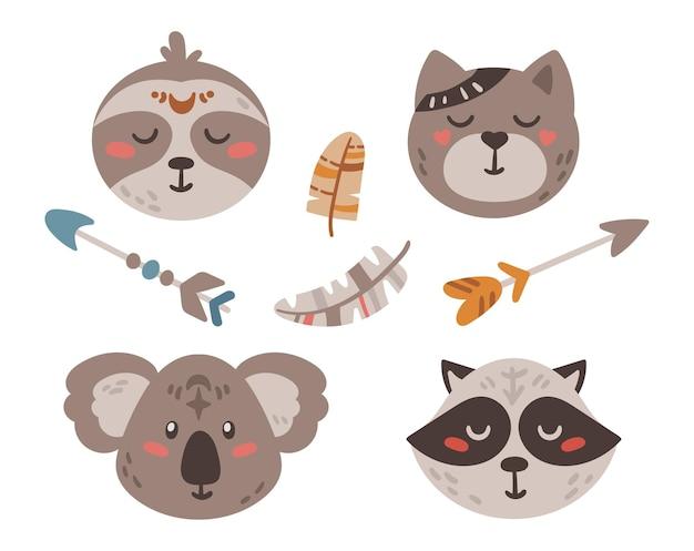 Conjunto de clipart isolado de flechas e rostos de animais de bebê boho fofos