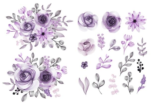 Conjunto de clipart isolado de flores roxas