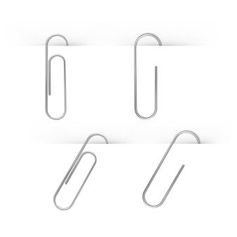 Conjunto de clipes de papel isolado no branco