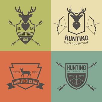Conjunto de clube de caça com etiquetas vintage, distintivos ou emblemas em estilo vintage