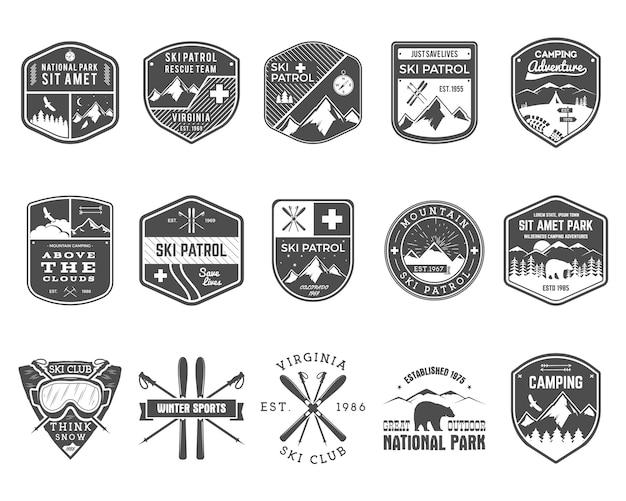 Conjunto de clube de esqui, etiquetas de patrulha.