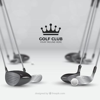 Conjunto de clubes de golfe detalhados