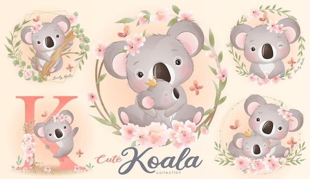 Conjunto de coala pequeno fofo com ilustração em aquarela