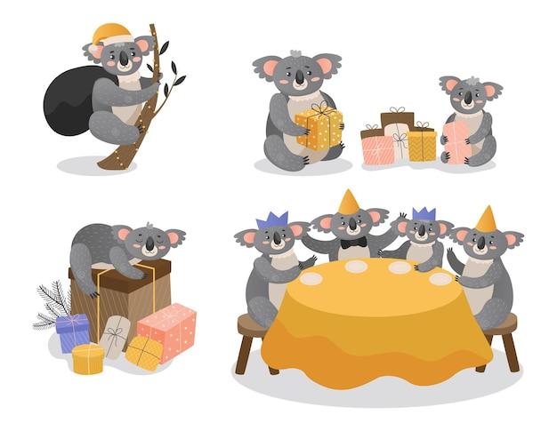 Conjunto de coalas de natal isolado no branco