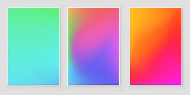 Conjunto de cobertura abstrata gradiente de cores brilhantes