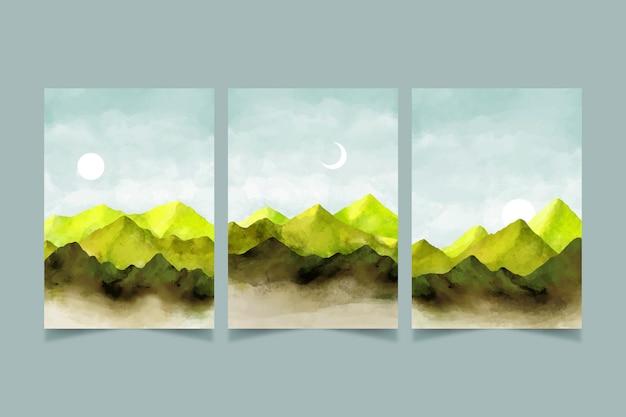 Conjunto de cobertura de paisagem mínima em aquarela
