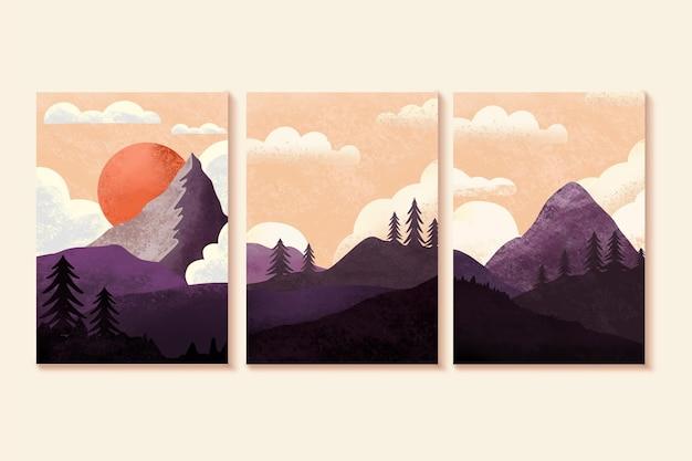 Conjunto de coberturas de paisagem mínima em aquarela