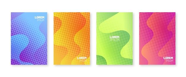 Conjunto de coberturas mínimas. padrão multicolor de pontos de meio-tom.
