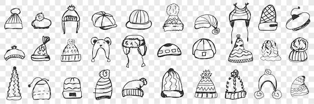 Conjunto de cocar conjunto de doodle de ilustração de vários bonés e chapéus quentes desenhado à mão