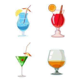 Conjunto de cocktail. conjunto de desenhos animados de coquetel