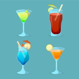 Conjunto de cocktail de design plano