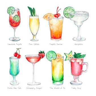Conjunto de cocktail em aquarela