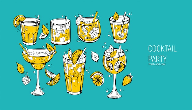 Conjunto de cocktails alcoólicos clássicos.