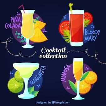 Conjunto de cocktails de frutas