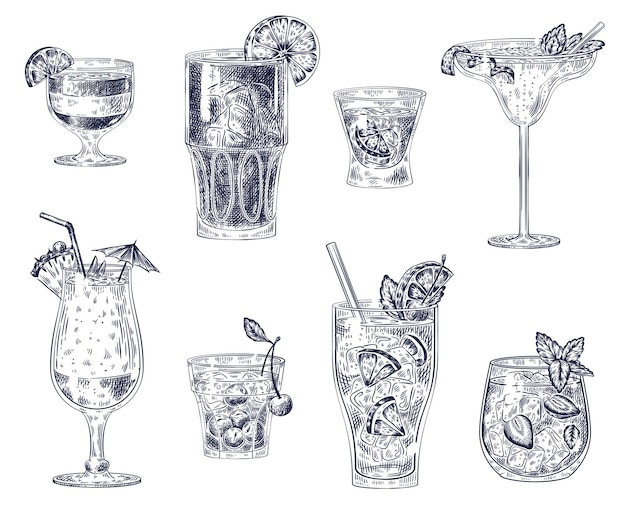Conjunto de cocktails sketch