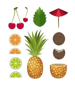 Conjunto de cocktails tropicais ícones