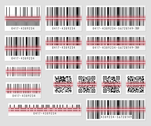 Conjunto de código de barras do produto e ilustração do código qr