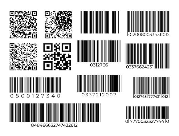 Conjunto de código de barras e código qr. escaneie a etiqueta industrial ou de supermercado da barra.