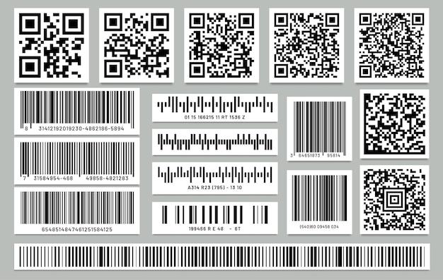 Conjunto de código de barras retângulo isolado e código qr quadrado.