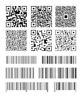 Conjunto de códigos de barras. códigos qr de coleção. ilustração.