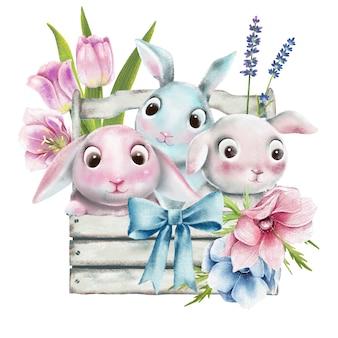 Conjunto de coelhinhos da páscoa em aquarela de pintados à mão