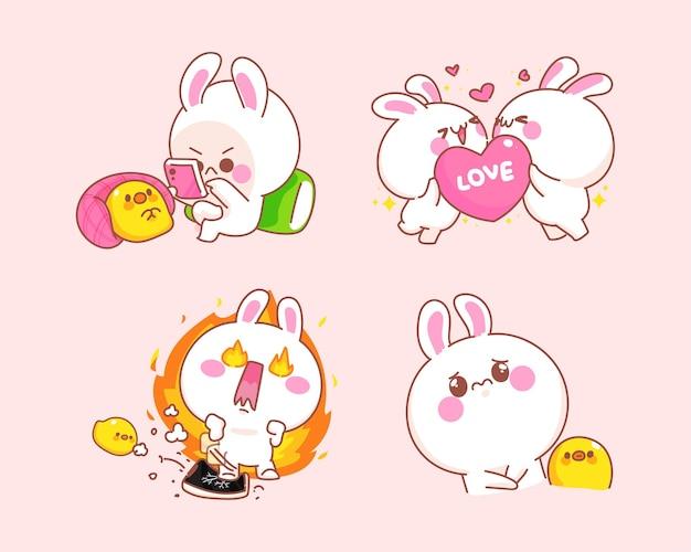 Conjunto de coelho feliz com ilustração de desenho de pato